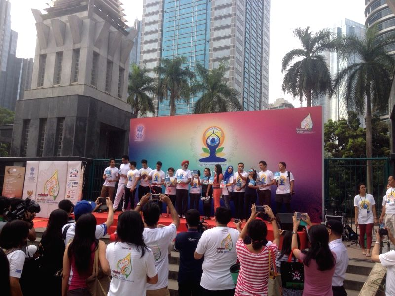 Ambassador of India to Indonesia and Timor Leste, Gurjit Singh inaugurates mass Yoga event to commemorate the International Yoga Day in Jakarta, Indonesia on June 21, 2015. - Gurjit Singh