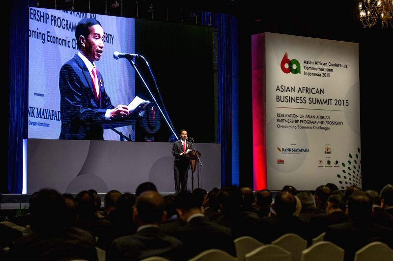 Indonesian President Joko Widodo addresses the Asian African Business Summit in Jakarta, Indonesia, on April 21, 2015. The Asian African Business Summit (AABS) ...