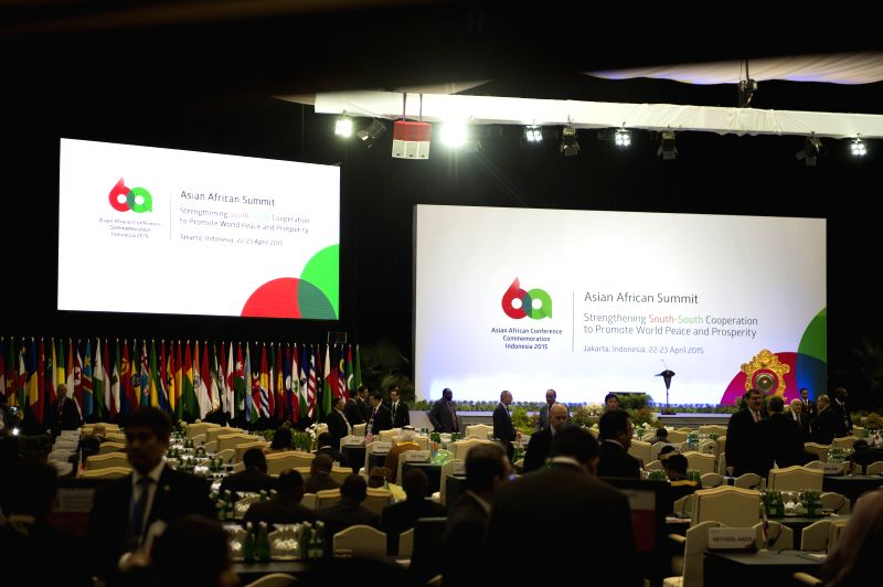 A view of the venue of the Asian-African Summit prior to its start in Jakarta, capital of Indonesia, on April 22, 2015. The summit kicked off here Wednesday. ...