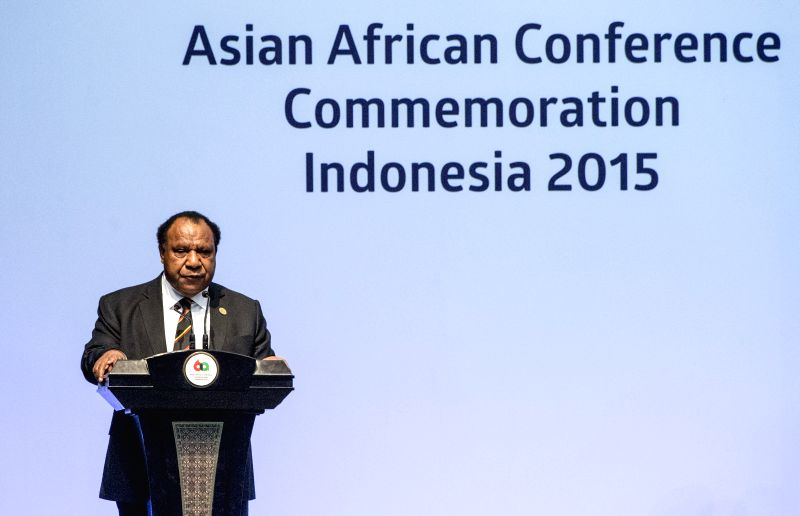 Foreign Minister of Papua New Guinea Rimbink Pato addresses the Asian-African Summit 2015 in Jakarta, capital of Indonesia, April 23, 2015. (Xinhua/Lui Siu ...