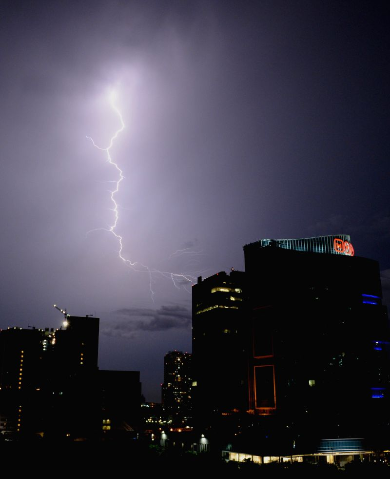Lightning hits the sky above Jakarta, Indonesia, April 24, 2014.