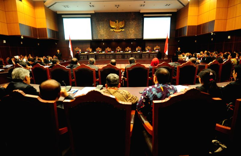 Photo taken on Aug. 21, 2014 shows the court room of the trial verdict over the disputed presidential election at the Constitutional Court (MK) in Jakarta, ...