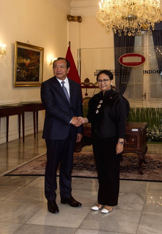 JAKARTA, Feb. 2, 2018 - Indonesia Foreign Minister Retno Marsudi (R) meets with Cambodian Foreign Minister Prak Sokhonn in Jakarta, Indonesia, Feb. 2, 2018. - Retno Marsudi