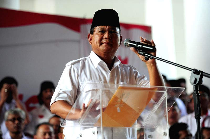Indonesia's president candidate Prabowo Subianto delivers a speech during a press conferences in Jakarta, Indonesia, July 22, 2014. Indonesia's president candidate .