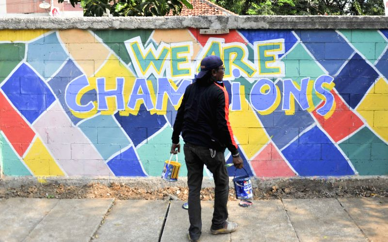JAKARTA, July 24, 2018 - A man creates graffiti with the theme of the Asian Games in Jakarta, Indonesia, July 24, 2018.