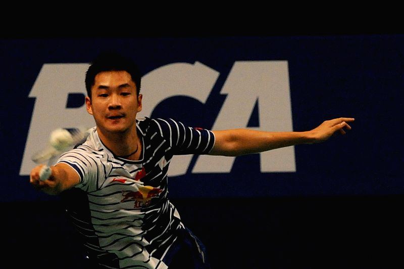 JAKARTA, June 1, 2016 - Wang Zhengmin of China returns the shuttlecock during the men's singles match against Hans Kristian Vittinghus of Denmark at the BCA Indonesia Open 2016 in Jakarta, Indonesia, ...