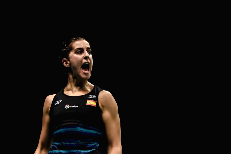 JAKARTA, June 13, 2017 - Spain's Carolina Marin reacts during the women's singles match against Chen Xiaoxin of China at Indonesia Open 2017 at Jakarta Convention Center, Jakarta, June 13, 2017.