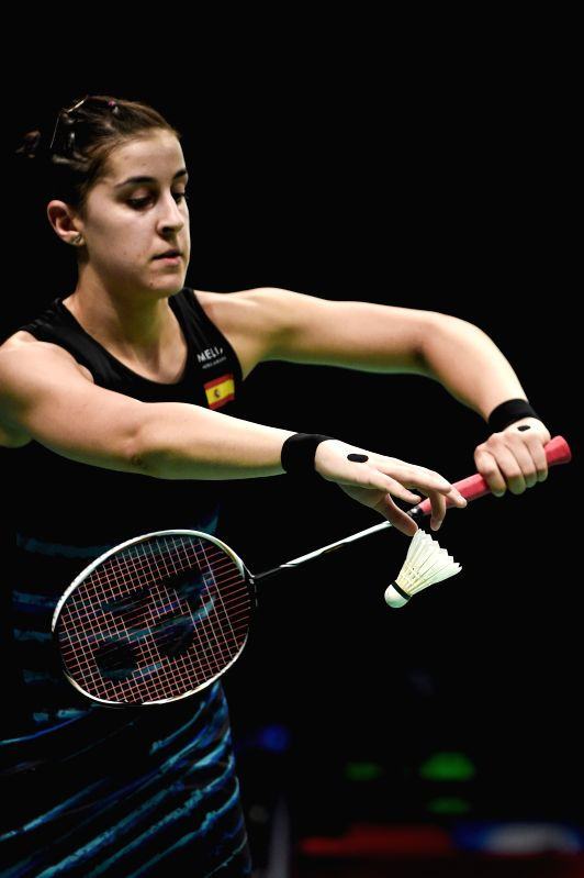 JAKARTA, June 13, 2017 - Spain's Carolina Marin serves to Chen Xiaoxin of China during their women's singles match at Indonesia Open 2017 at Jakarta Convention Center, Jakarta, June 13, 2017.