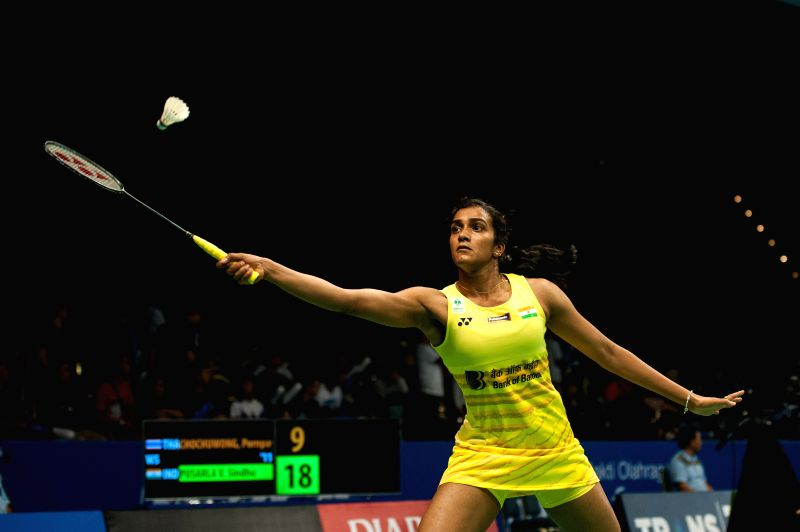 JAKARTA. June 13, 2017 Xinhua)Pusarla V. Sindhu of India competes against Pornpawee Chochuwong of Thailand during women's singles match at Indonesia Open 2017 in Jakarta, June 13, 2017.