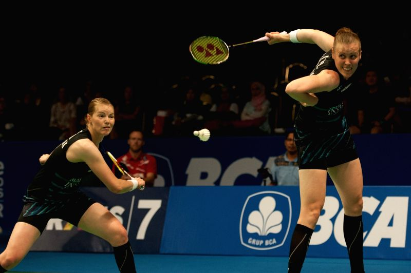JAKARTA, June 14, 2017 - Kamilla Rytter Juhl and Christinna Pedersen of Denmark compete during women's doubles match against Hye Rin Kim and Yoo Hae Won of South Korea in Indonesia Open 2017 at ...