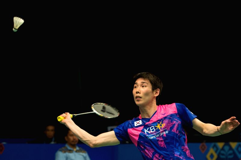 JAKARTA. June 14, 2017 Son Wan Ho of South Korea competes against Sai Praneeth B. of India during Men's Singles match in Indonesia Open 2017 at Jakarta Convention Center, Jakarta, June ...