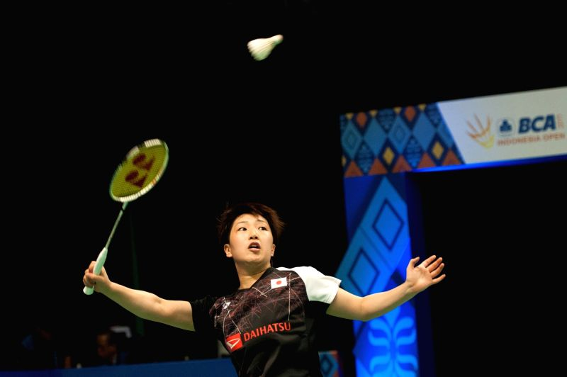 JAKARTA, June 15, 2017 - Akane Yamaguchi of Japan competes against Nozomi Okuhara of Japan during a women's singles match in Indonesia Open 2017 at Jakarta Convention Center, Indonesia, on June 15, ...