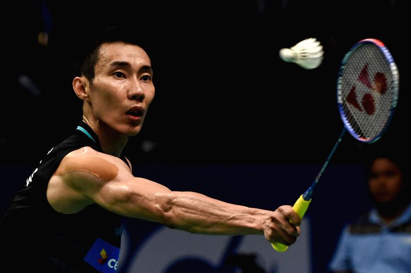 JAKARTA, June 15, 2017 - Lee Chong Wei of Malaysia competes during Men's Singles match against Prannoy H.S. of India in Indonesia Open 2017 at Jakarta Convention Center, Jakarta, June 15, 2017. ...