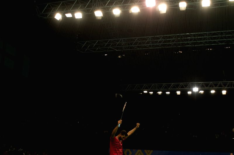 JAKARTA. June 15, 2017 Prannoy H.S. of India celebrates during Men's Singles match against Lee Chong Wei of Malaysia in Indonesia Open 2017 at Jakarta Convention Center, Jakarta, June 15, ...