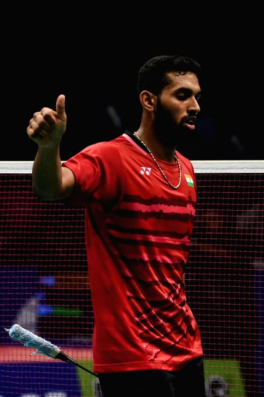 JAKARTA, June 15, 2017 - Prannoy H.S. of India celebrates during Men's Singles match against Lee Chong Wei of Malaysia in Indonesia Open 2017 at Jakarta Convention Center, Jakarta, June 15, 2017. ...
