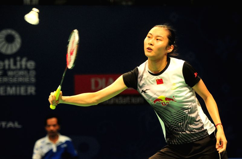 JAKARTA, June 2, 2016 - Wang Yihan of China competes against Line Kjaersfeldt of Denmark during the women's singles match at the BCA Indonesia Open badminton tournament in Jakarta, Indonesia, June 2, ...