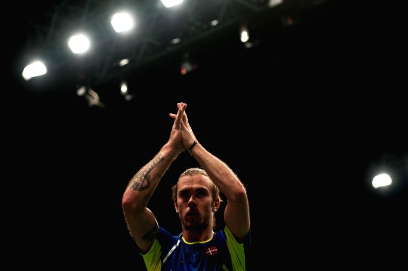 Jan O Jorgensen of Denmark gestures after winning the quarterfinal of BCA Indonesia Open 2014 against Son Wan Ho of South Korea at Istora Senayan Jakarta, Indonesia, ..