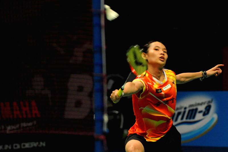 JAKARTA, June 4, 2016 - Tai Tzu Ying of Chinese Taipei returns the shuttlecock during the women's single semifinal match against Wang Shixian of China at the BCA Indonesia Open 2016 in Jakarta, ...