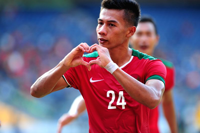 Ahmad Nufiandani of Indonesia gestures after scoring against Brunei Darussalam during the qualification match of Group H at the AFC U-23 Championship 2016 at ...
