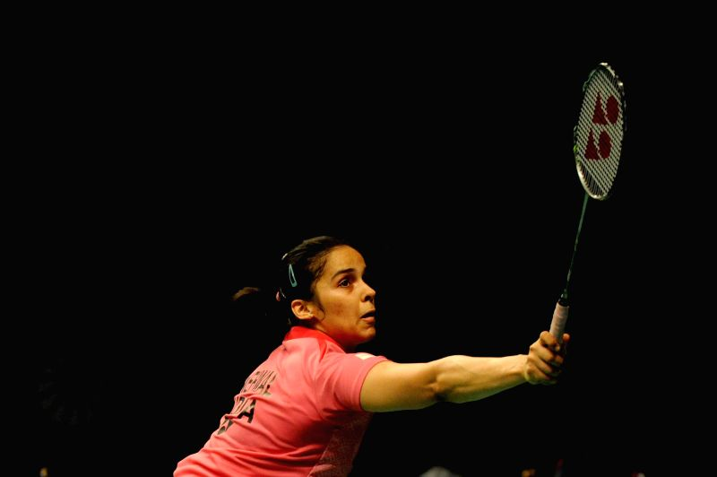 JAKARTA, May 31, 2016 - Saina Nehwal of India returns the shuttlecock during the women's singles qualification match against Pai Yu Po of Chinese Taipei at the Indonesia Open badminton tournament in ...