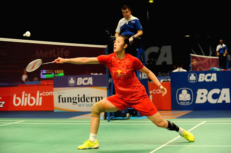 JAKARTA, May 31, 2016 - Sun Yu of China returns the shuttlecock during the women's singles qualification match against Ratchanok Intanon of Thailand at the Indonesia Open badminton tournament in ...