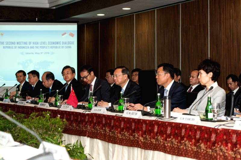 JAKARTA, May 9, 2016 - Chinese State Councilor Yang Jiechi (3rd R, front) attends the second meeting of China-Indonesia High-level Economic Dialogue at Borobudur Hotel Jakarta in Indonesia, May 9, ...