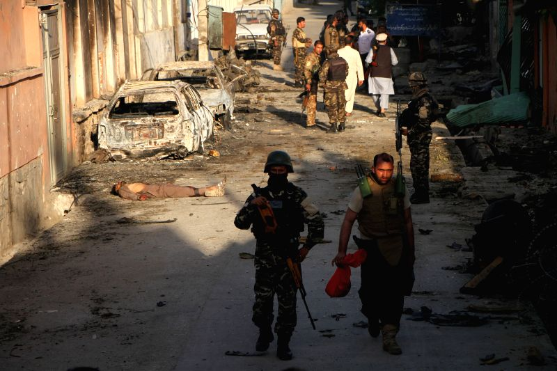 JALALABAD, Aug. 1, 2018 - Photo taken on Aug. 1, 2018 shows the site of an attack in Jalalabad, the capital city of Nangarhar province, Afghanistan. Eighteen people, including three assailants, were ...