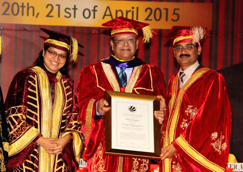 Mauritian President Rajkeswur Purryag during the convocation of a private university in Jalandhar on April 20, 2015.