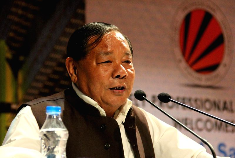 National People`s Party (NPP) chief and MP Purno Agitok Sangma addresses during the inauguration of two days Pharmacy Conference at LPU (Lovely Professional University) in Jalandhar on Nov