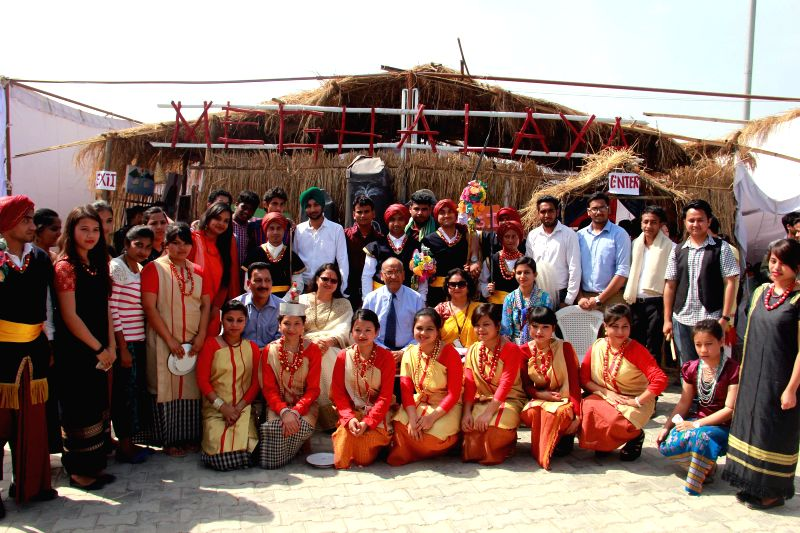 Students participate in Annual Mega National Festival 'One India' organised in Jalandhar of Punjab on March 25, 2015.
