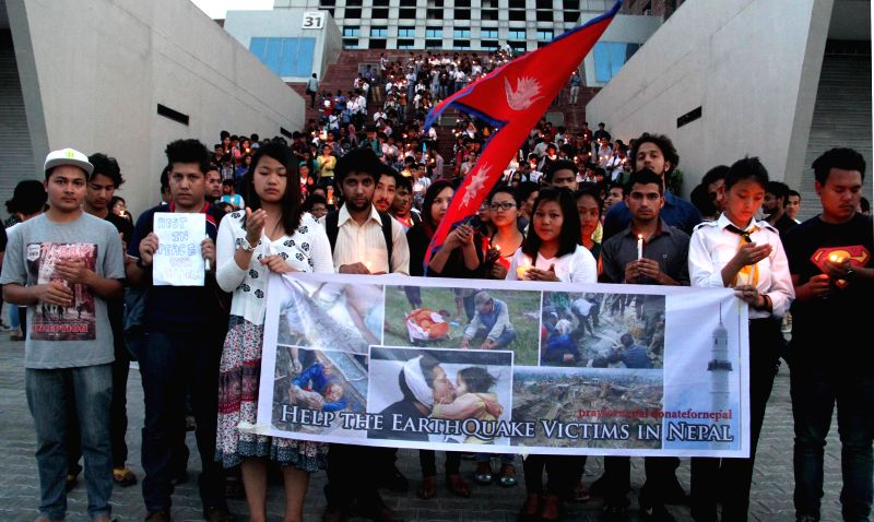 Students pay tribute to Nepal earthquake victims in Jalandhar on April 29, 2015.