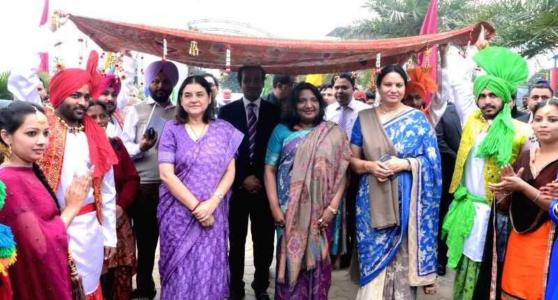 The Union Minister for Women and Child Welfare Maneka Gandhi  during a programme in Jalandhar of Punjab on March 16, 2015. - Welfare Maneka Gandhi