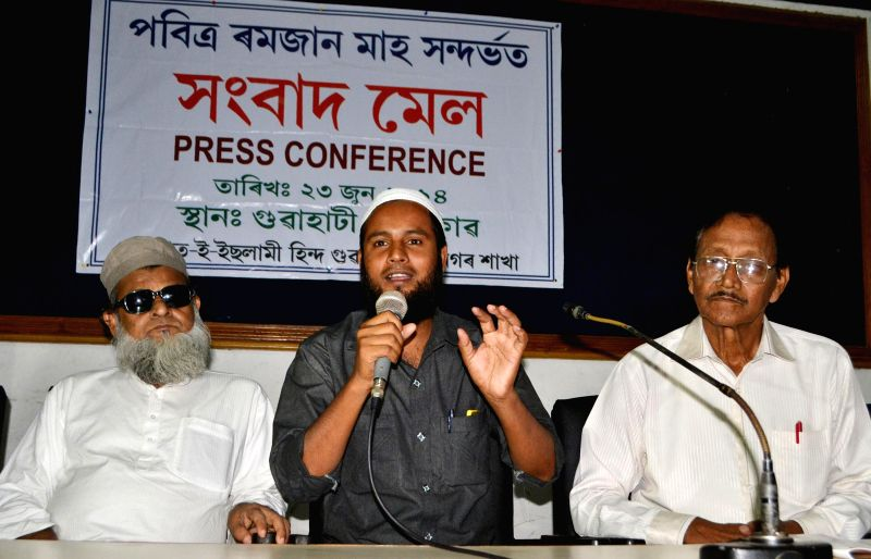Jamat-e-Islami Hind secretary Hafikul Islam addresses a press conference regarding Ramzan at Press Club in Guwahati on June 23, 2014.
