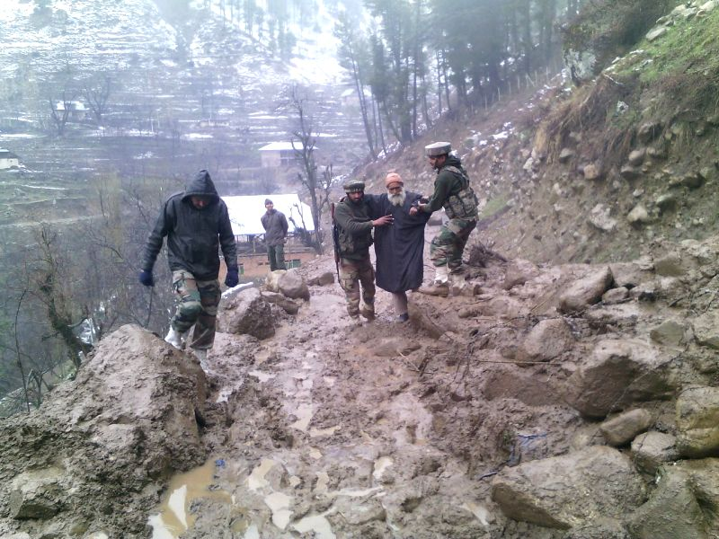 Jammu and Kashmir: Army personnel carry out rescue operation in flood hit Jammu and Kashmir on March 31, 2015.