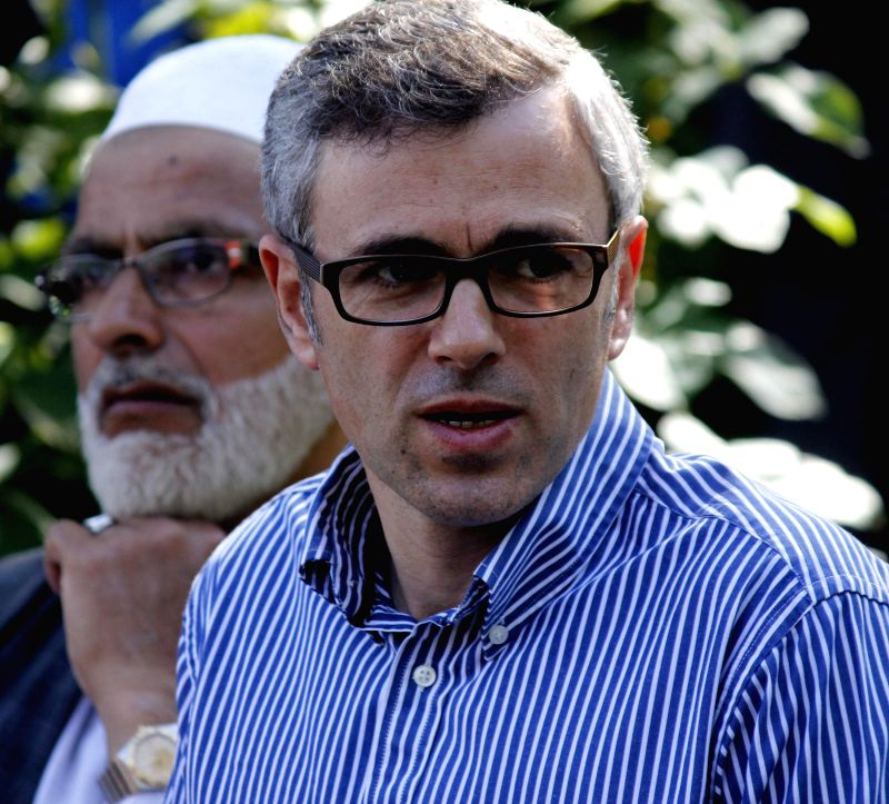 Jammu and Kashmir Chief Minister and Jammu and Kashmir National Conference leader Omar Abdullah addresses a press conference in Srinagar on May 16, 2014.