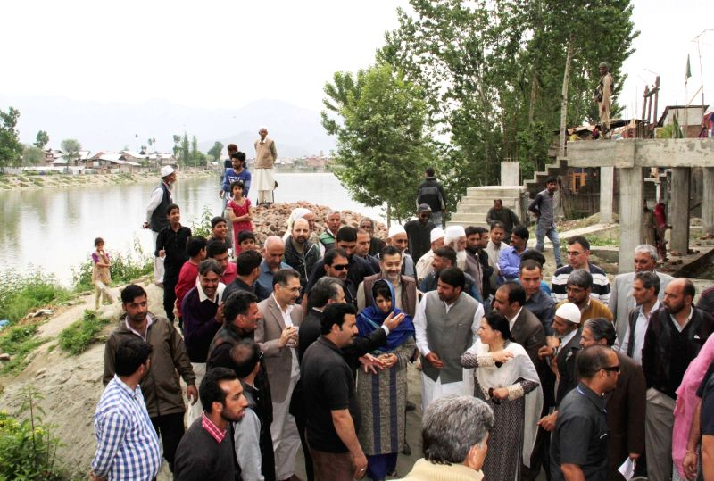Jammu and Kashmir Chief Minister Mehboob Mufti interact with people during her visit in Srinagar on May 14, 2016. - Mehboob Mufti