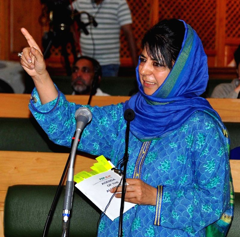 Jammu and Kashmir Chief Minister Mehbooba Mufti addresses at Jammu and Kashmir Legislative Assembly in Srinagar on May 28, 2016. - Mehbooba Mufti