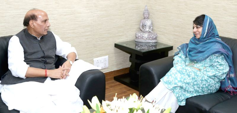 Jammu and Kashmir Chief Minister Mehbooba Mufti calls on the Union Home Minister Rajnath Singh, in New Delhi on June 2, 2016. - Mehbooba Mufti and Rajnath Singh