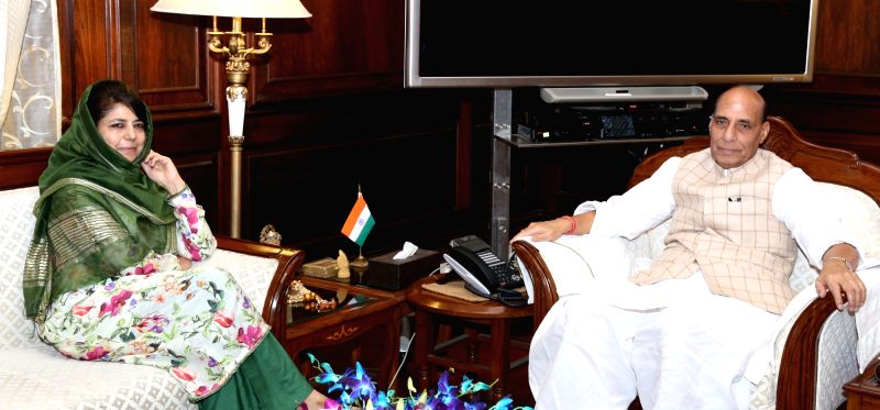 Jammu and Kashmir Chief Minister Mehbooba Mufti calls on the Union Home Minister Rajnath Singh in New Delhi, on Aug 8, 2016. - Mehbooba Mufti and Rajnath Singh