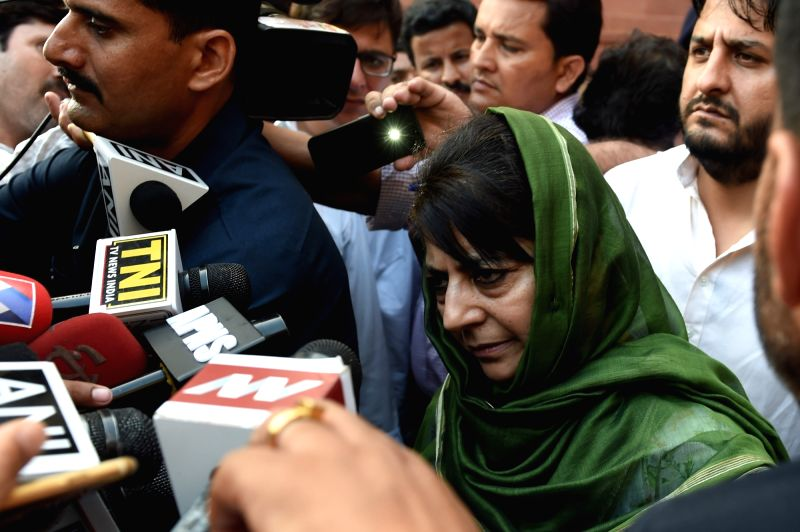 Jammu and Kashmir Chief Minister Mehbooba Mufti comes out of Home Ministry after meeting Union Home Minister Rajnath Singh in New Delhi on Aug 8, 2016. - Mehbooba Mufti and Rajnath Singh