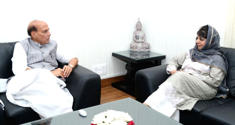 Jammu and Kashmir Chief Minister Mehbooba Mufti calls on Union Home Minister Rajnath Singh, in New Delhi on April 24, 2017. - Mehbooba Mufti and Rajnath Singh