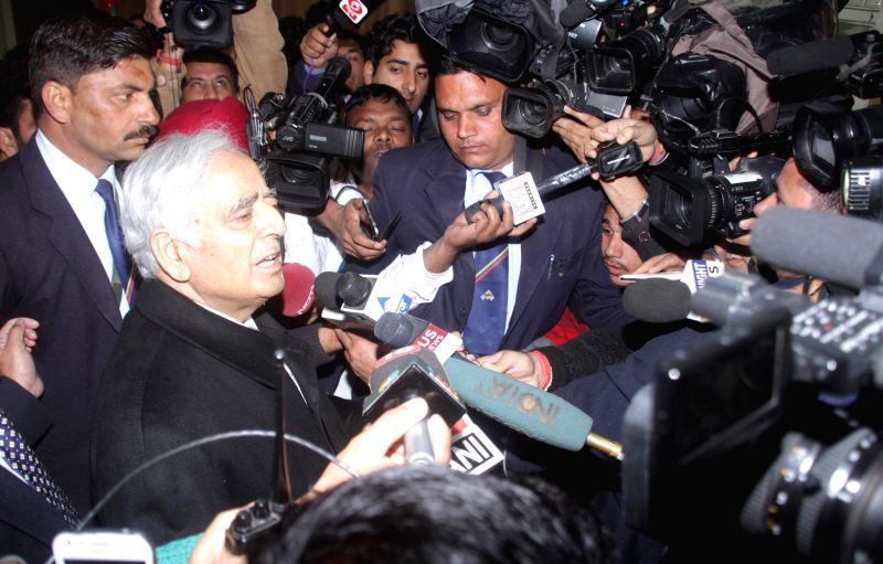 Jammu and Kashmir Chief Minister Mufti Mohammad Sayeed talks to press at the civil secretariat in Jammu, on March 2, 2015. - Mufti Mohammad Sayeed