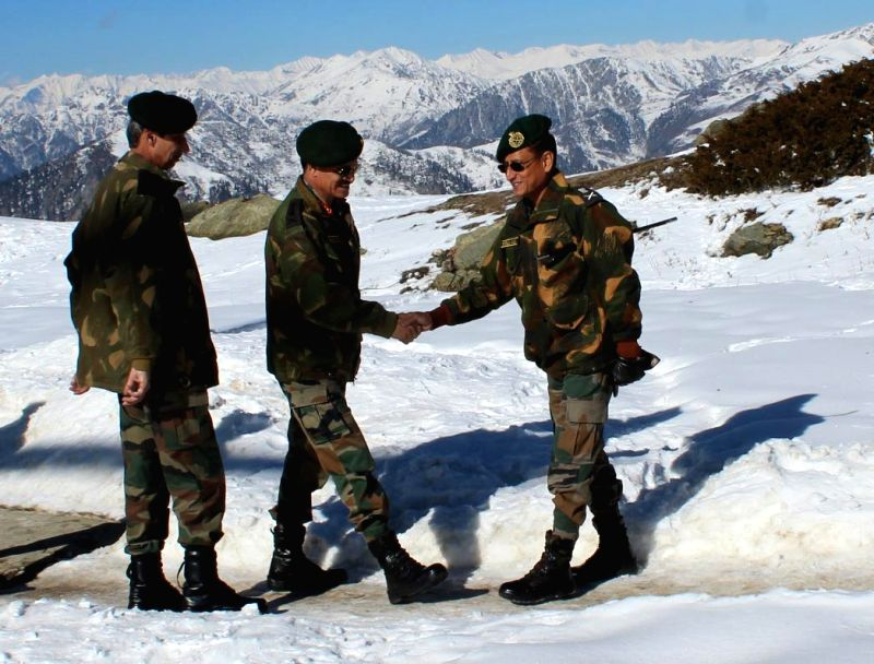 Jammu and Kashmir: Indian Army Chief General Dalbir Singh Suhag visits forward posts in the Tangdhar and Machchal sectors of Jammu and Kashmir on Dec 1, 2014.