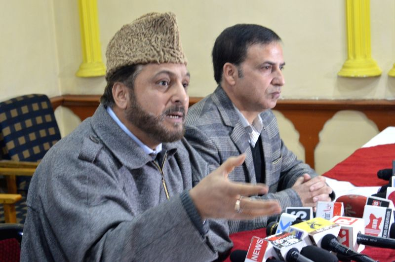 Jammu and Kashmir Muslim Personal Board Vice Chairman and Deputy Grand Mufti, Mufti Nasir-ul-Islam addresses a press conference in Srinagar on Jan 30, 2018. - Grand Mufti