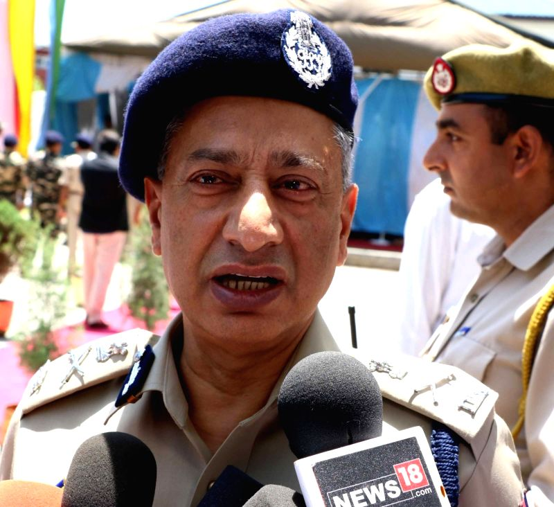 Jammu and Kashmir police DGP S P Vaid address a press conference in Srinagar, on June 16, 2017.