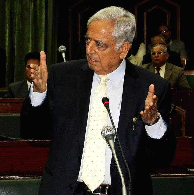 Jammu and Kashmir Chief Minister Mufti Mohammad Sayeed addresses state assembly in Jammu on March 19, 2015. - Mufti Mohammad Sayeed