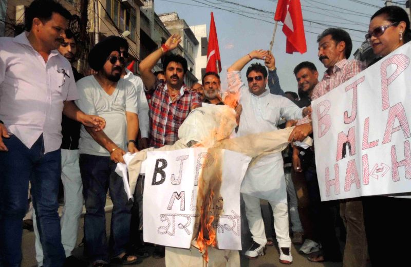 Jammu & Kashmir Youth National Conference staged demonstrations at various places across the Jammu city against unruly behaviour of BJP Legislators and their dubious machinations to barter the ...