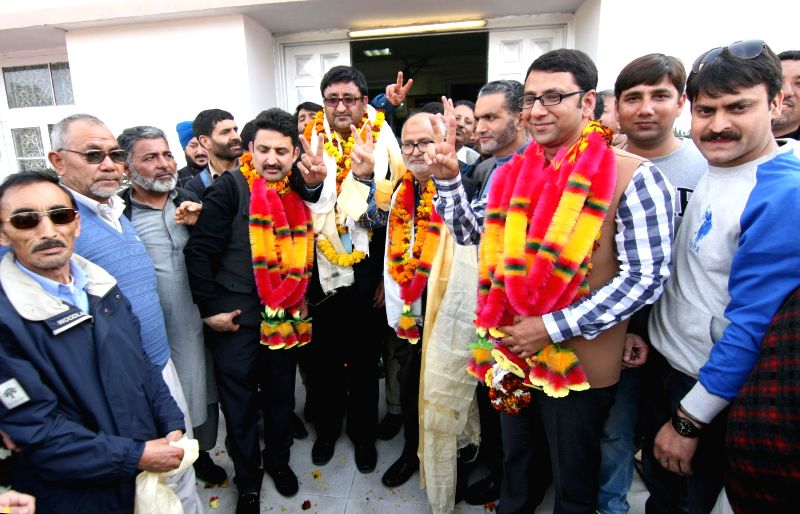 PDP leaders file nominations for the Jammu and Kashmir Legislative Council elections at civil secretariat in Jammu, on Feb 21, 2015.