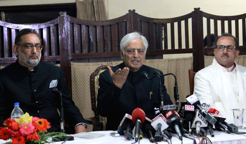 The newly elected Jammu and Kashmir Chief Minister Mufti Mohammad Sayeed addresses a press conference after his swearing in ceremony on March 1, 2015. - Mufti Mohammad Sayeed