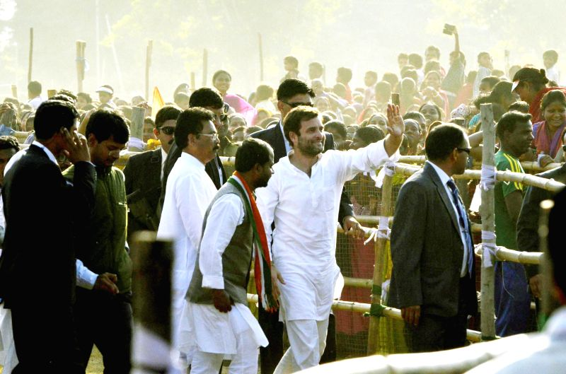 Congress vice president Rahul Gandhi during a rally ahead of assembly elections in Jamshedpur, Jharkhand on Nov 28, 2014.